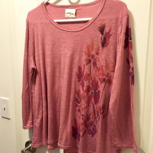 Floral Dusty Rose Anthropologie T-Shirt